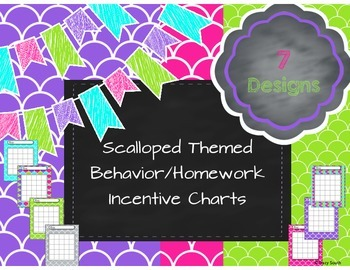 Scalloped Themed Behavior/Homework Incentive Charts