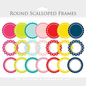 Scalloped frames clipart - round frames for units, rainbow colors, decorations