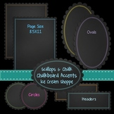 Scallops & Chalk ~ Set of 32 Chalkboard Accents and Papers