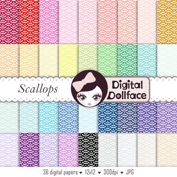 Scallops Digital Paper, Fishscales, Mermaid Scale Backgrounds