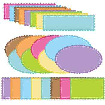 Scallops & Stitches Accents ~ 56 Frames, Borders, Buntings, & Shapes Clip Art