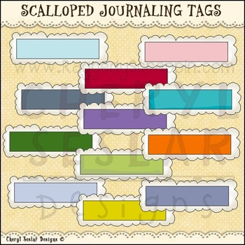 Scalloped Journaling tags Clipart Collection