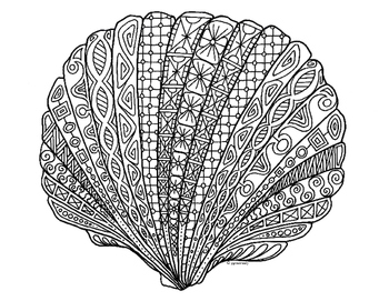 Scallop Shell Zentangle Coloring Page by Pamela Kennedy TpT
