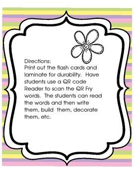 Scan It, Read It, Write It QR Code Sight Words Spring Theme