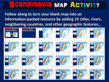 Scandinavia Map Activity- fun, engaging, follow-along 24-slide PPT