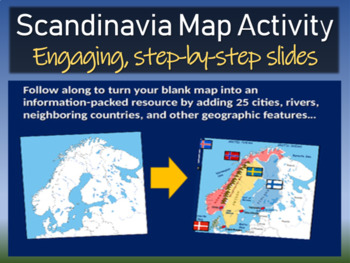 Scandinavia Map Activity- fun, engaging, follow-along 24-s