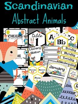 Scandinavian Abstract Animal Classroom Decor Bundle 108 Pgs ( boho, geometric)