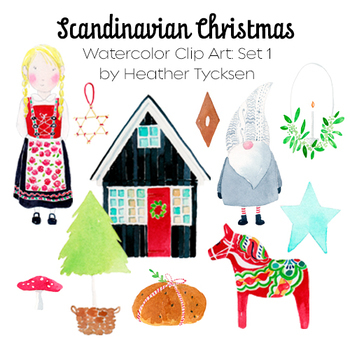Scandinavian Christmas.Scandinavian Christmas Watercolor Clip Art Set 1 Of 3