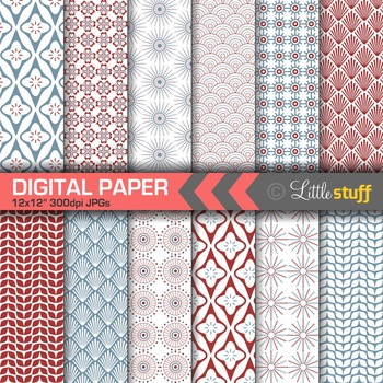 Scandinavian Digital Papers, Nordic Patterns, Red & Blue Minimalist