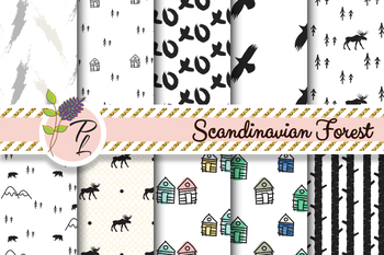 Scandinavian Forest Seamless Pattern Set. Digital paper pack.