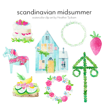 Scandinavian Clipart Swedish Clipart Midsummer Party Swedish Midsummer Dala