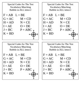 Scantron Bubbling Test Answer Codes