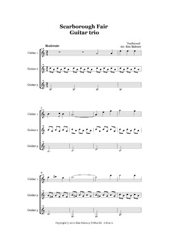 'Scarborough Fair' Instrumental - Easy Guitar Trio
