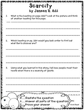 Scarcity Reading Street 2nd Grade Close Reading Unit