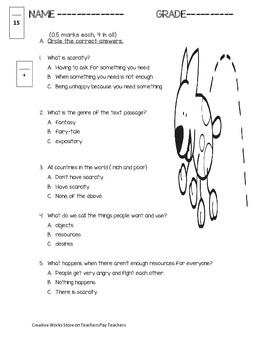 Scarcity ( Reading Street 2nd Grade) - Reading Quiz