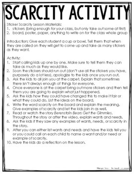 Scarcity Unit Plan