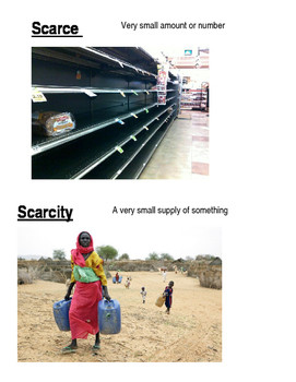 Scarcity Vocabulary Words, Definitions, Pictures