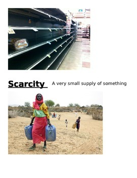 Scarcity Vocabulary Words, Definitions, and Photos
