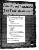 Scarcity and Abundance Exit Ticket Assessment