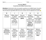 Scarcity and Other Economics Bingo