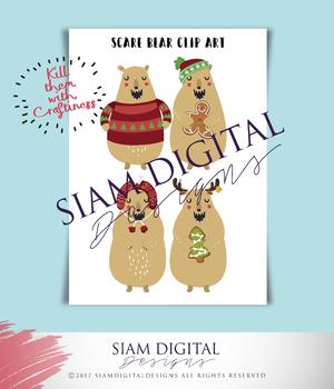 Scare Bear Clip Art Set - Unique Clip Art