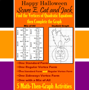 Scare E. Cat and Jack - Finding Vertices - 4 Math-Then-Graph Activities