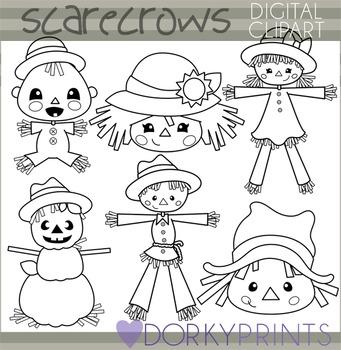 Scarecrow Blackline Clip Art