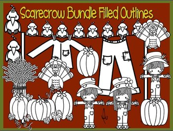 Thanksgiving Scarecrow Bundle Outlines Filled in White