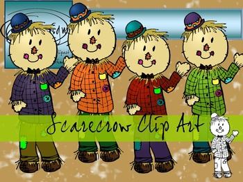 Scarecrow Clip Art - Color and Line Art