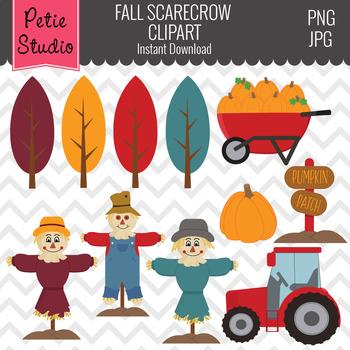 Scarecrow Clipart, Pumpkin Patch Clipart, Farm Clipart, Fall Clipart - Fall139