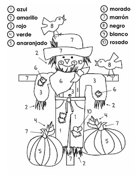 Scarecrow Color by Number in Spanish