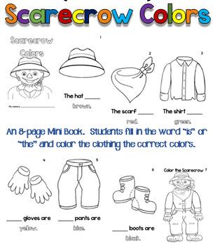 Scarecrow Colors-Mini Book & Sentence Unscramble pages