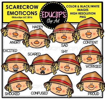 Scarecrow Emoticons Clip Art Bundle  {Educlips Clipart}
