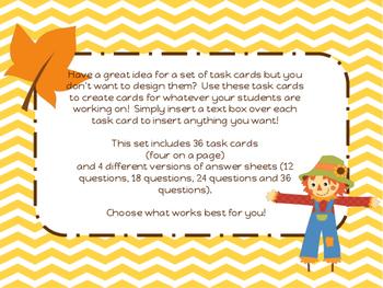 Scarecrow Fall Autumn Theme Blank Task Card Template