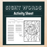 Scarecrow, Fall Coloring Activity Sheet with Sight Words