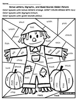 Scarecrow Hidden Picture - Digraphs, Bonus Letters, & Glued Sounds