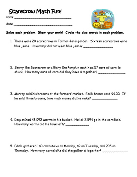 Scarecrow Math Word Problems