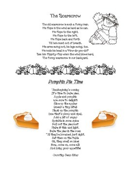Scarecrow & Pumpkin Pie poems