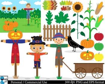 Scarecrow Set Clipart Digital Clip Art Graphics 39 images cod47