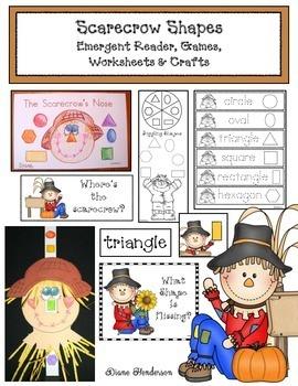 Scarecrow Shapes: Emergent Reader, Games, Worksheets & Craft
