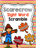 Scarecrow Sight Word Scramble - EDITABLE Word Work Center