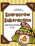Scarecrow Subtraction, A Subtraction Practice to 20 Math Center