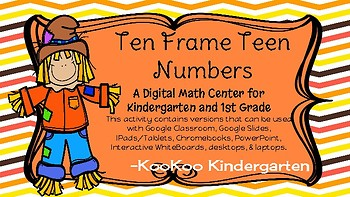 Scarecrow Ten Frame Teen Numbers-A Digital Math Centers
