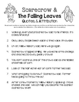 Scarecrow & The Falling Leaves - Quotes & Attribution