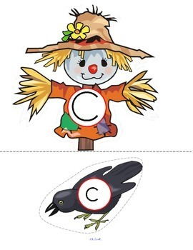 Scarecrows and Crows Alphabet Upper and Lower Case Match