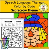 Scarecrow Theme Speech Therapy Color By Code Grab and Go Activity