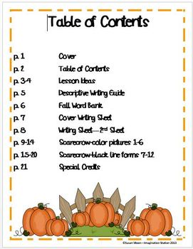 Scarecrow Writing Activity Packet
