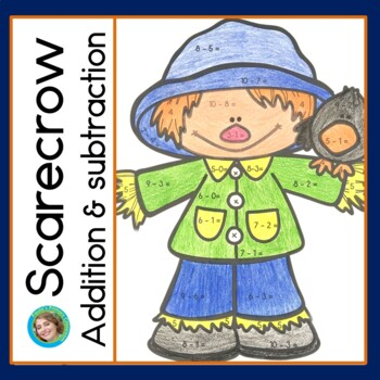 Scarecrow addition and subtraction within 20, first grade math