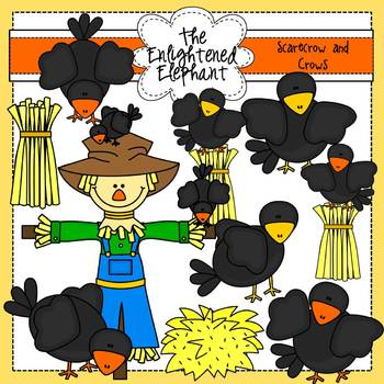 Scarecrow and Crows Clip Art