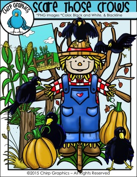 Scarecrow and Crows Fall Clip Art Set - Chirp Graphics